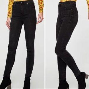 Zara TRF Black High Waisted Skinny Jeans Size 8